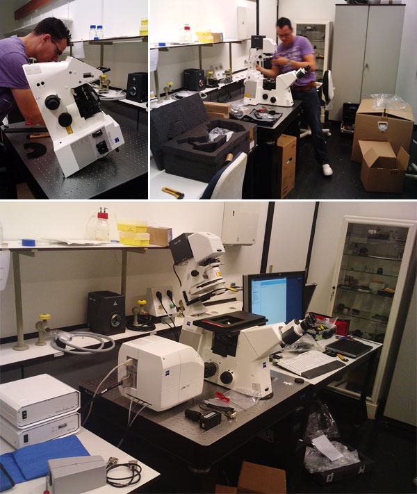 Installation of the confocal microscope Carl Zeiss LSM700